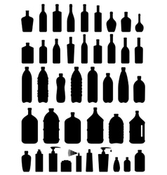 set of glass plastic and cosmetic bottle vector image
