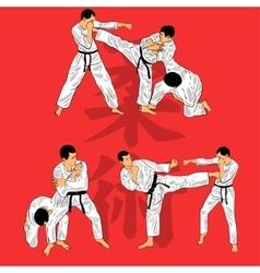 Set of ju-jutsu fighters vector