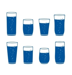 Sparkling water glass set vector