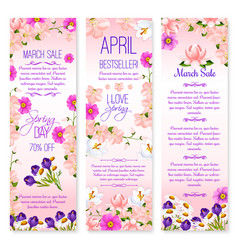 Spring holiday sale banners set of lowers vector