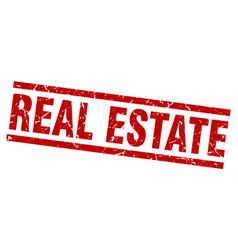 Square grunge red real estate stamp vector