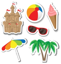 Summer sticker set vector