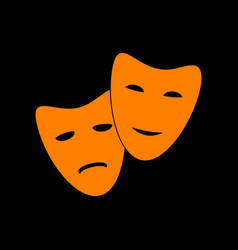Theater icon with happy and sad masks orange icon vector