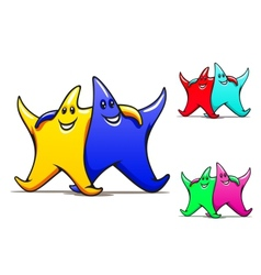 Two smiling friendly stars vector image vector image