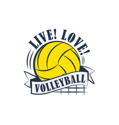Yellow volleyball emblem vector