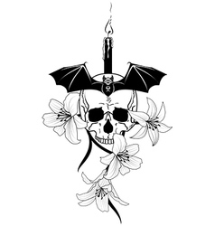 candle skull and lily vector image