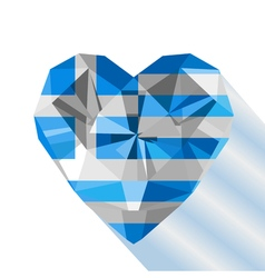 crystal gem jewelry Greek heart with the flag of vector image
