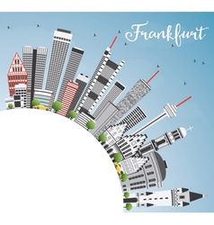 Frankfurt skyline with gray buildings vector