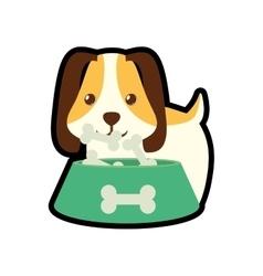 Dog little pet domestic bowl food b print vector