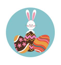 rabbit easter eggs decorative ornament vector image