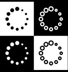 Circular loading sign  black and white vector
