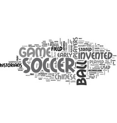 Who invented soccer text word cloud concept vector