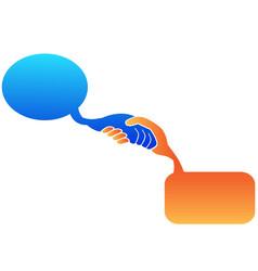 handshake speech bubble vector image