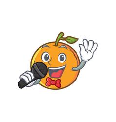Karaoke orange fruit cartoon character vector