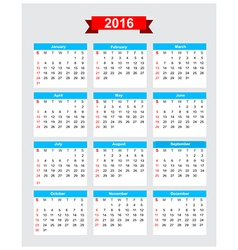 2016 calendar week start sunday 001 vector image