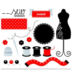 Cute sewing set design elements isolated on white vector