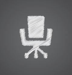 Office chair sketch logo doodle icon vector image