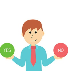 Cartoon businessman makes desicion choose yes or vector