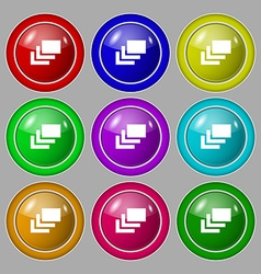 Layers icon sign symbol on nine round colourful vector