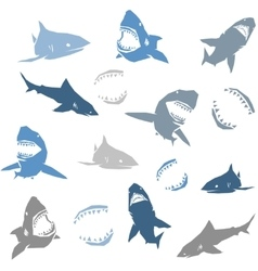 Sharks silhouettes seamless pattern isolated blue vector