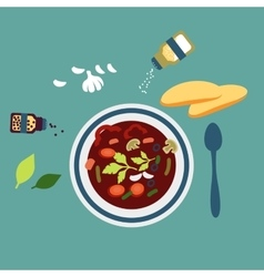 Served vegetarian soup with herbs vector