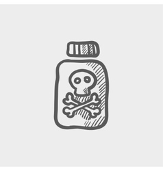 Bottle of poison sketch icon vector