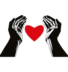 Hand with heart symbol vector