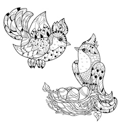Zentangle sketch bird on nest hand drawn doodle vector