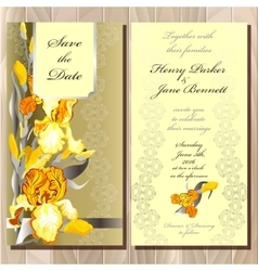 Wedding card with yellow iris bouquet background vector