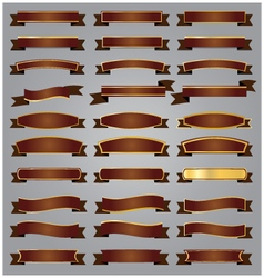 Set bronze ribbons and banners with gold vector