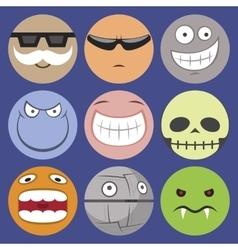 Cartoon smiliie characters set vector image