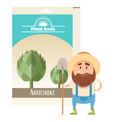 artichoke seed pack vector image vector image