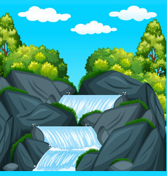 Background scene with waterfall at daytime vector
