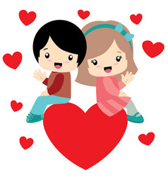 boy and girl sitting on a heart valentine day card vector image vector image