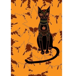 cat and autumn vector image vector image