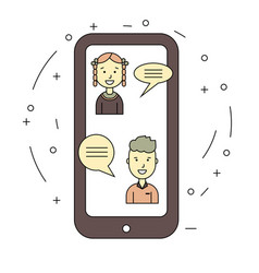 chat talk concept via internet by smartphone vector image