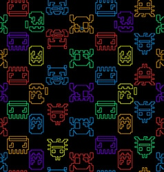 Computer game graphic seamless pattern on a black vector