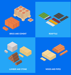 construction material poster card set isometric vector image