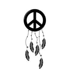 Contour hippie emblem symbol with feathers design vector