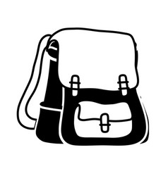 Contour school backpack education object design vector