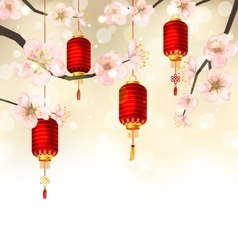 Cute Background with Sakura Blossom and Hanging vector image