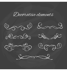 Dividers set chalk divider on blackboard hand vector
