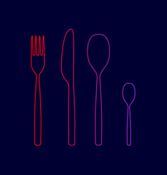 fork spoon and knife sign line icon with vector image