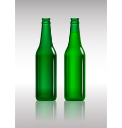 Full and empty green beer bottles vector image