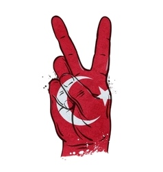 hand gesture of victory flag Turkey vector image