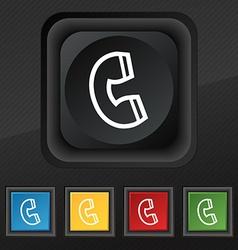 handset icon symbol Set of five colorful stylish vector image