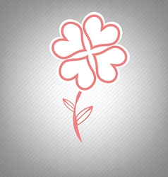 heart flower retro symbol design vector image vector image