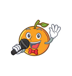 Karaoke orange fruit cartoon character vector