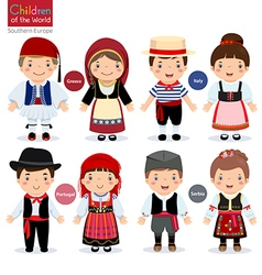 Kids in different traditional costumes vector image