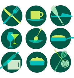 kitchenware icon set on green vector image